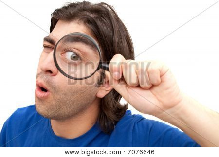 Curious Man with magnifying glass