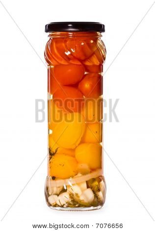 Jar Of Marinaded  Tomato, Isolated