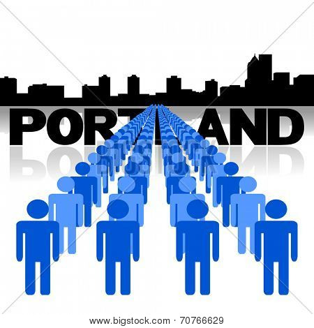 Lines of people with Portland skyline vector illustration
