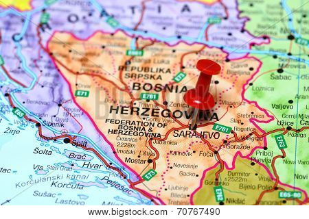 Sarajevo pinned on a map of europe