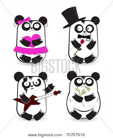 Set of pandas in different outfits