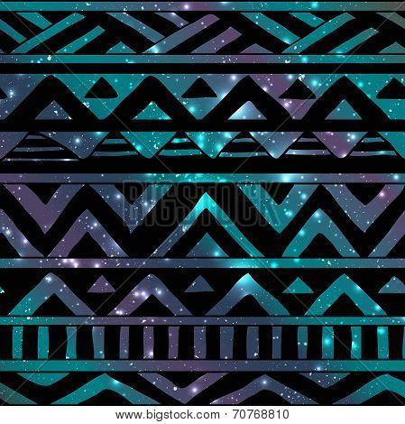 Aztec Tribal Seamless Pattern on Cosmic Background