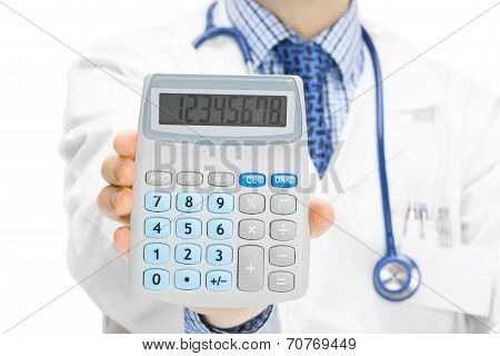Doctor Holdling In His Hand Calculator