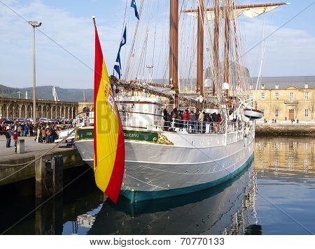 Ferrol, Spain - February 16: Spanish Navy Training Ship, Juan Sebastian De Elcano On February 16 , 2