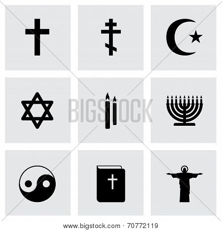 Vector black religion icons set