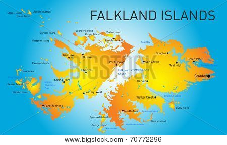 Vector color map of Falkland islands