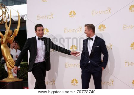 LOS ANGELES - AUG 25:  Jimmy Fallon, Derek Hough at the 2014 Primetime Emmy Awards - Arrivals at Nokia Theater at LA Live on August 25, 2014 in Los Angeles, CA