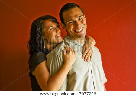 Young Attractive Adult Couple Relationship, Smiling, Hugging