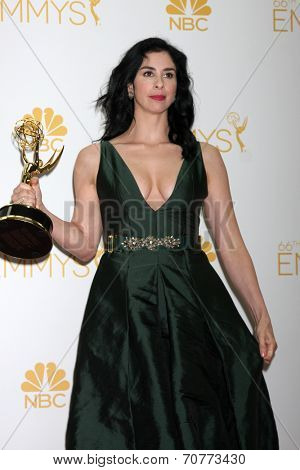 LOS ANGELES - AUG 25:  Sarah Silverman at the 2014 Primetime Emmy Awards - Press Room at Nokia Theater at LA Live on August 25, 2014 in Los Angeles, CA