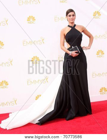 LOS ANGELES - AUG 25:  Lizzy Caplan at the 2014 Primetime Emmy Awards - Arrivals at Nokia Theater at LA Live on August 25, 2014 in Los Angeles, CA
