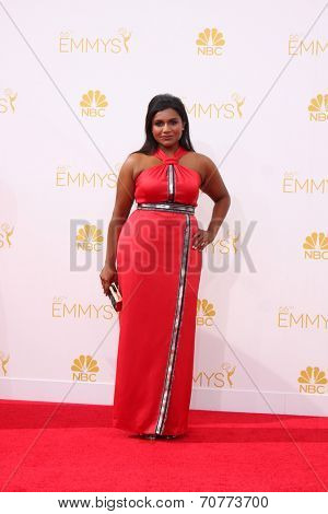 LOS ANGELES - AUG 25:  Mindy Kaling at the 2014 Primetime Emmy Awards - Arrivals at Nokia Theater at LA Live on August 25, 2014 in Los Angeles, CA