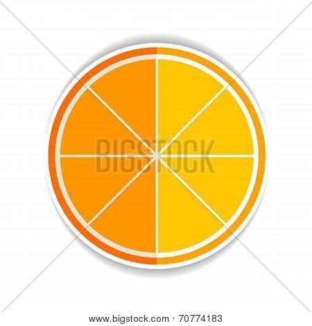 Illustration Of Lemon Orange Fruit Flat Icon Yellow Ripe Orange