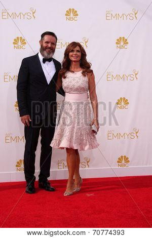 LOS ANGELES - AUG 25:  Mark Burnett, Roma Downey at the 2014 Primetime Emmy Awards - Arrivals at Nokia Theater at LA Live on August 25, 2014 in Los Angeles, CA