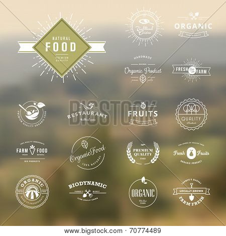 Set of labels and badges for natural food and drink