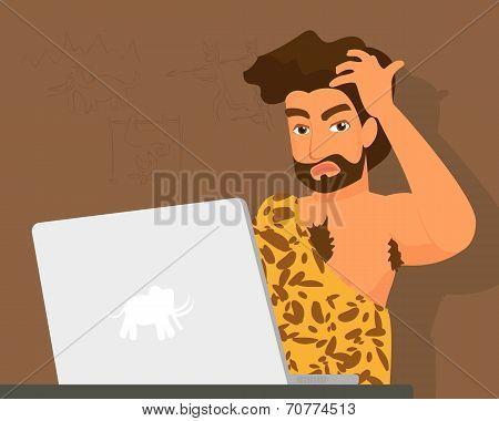 Primitive man has a problem with laptop