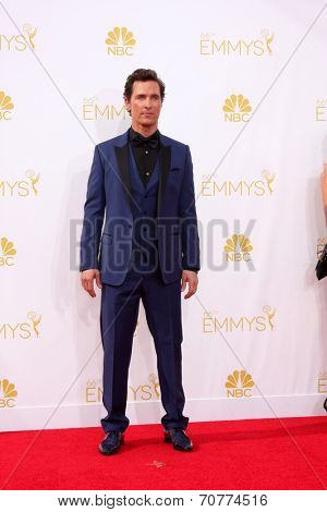 LOS ANGELES - AUG 25:  Matthew McConaughey at the 2014 Primetime Emmy Awards - Arrivals at Nokia Theater at LA Live on August 25, 2014 in Los Angeles, CA