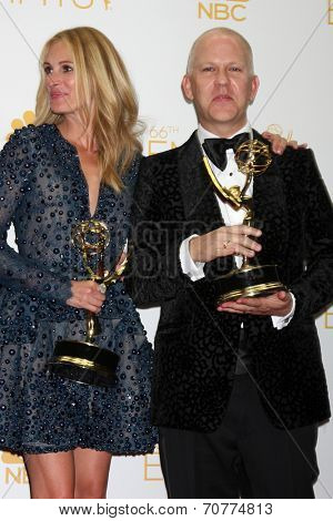 LOS ANGELES - AUG 25:  Julia Roberts, Ryan Murphy at the 2014 Primetime Emmy Awards - Press Room at Nokia Theater at LA Live on August 25, 2014 in Los Angeles, CA