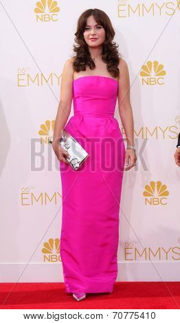 LOS ANGELES - AUG 25:  Zooey Deschanel at the 2014 Primetime Emmy Awards - Arrivals at Nokia Theater at LA Live on August 25, 2014 in Los Angeles, CA