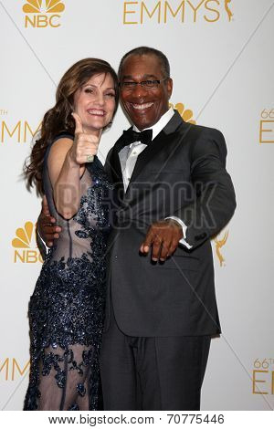 LOS ANGELES - AUG 25:  Nora Chavooshian, Joe Morton at the 2014 Primetime Emmy Awards - Press Room at Nokia Theater at LA Live on August 25, 2014 in Los Angeles, CA