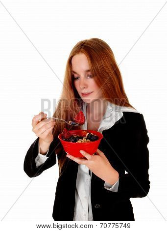 Woman Enjoying Breakfast.