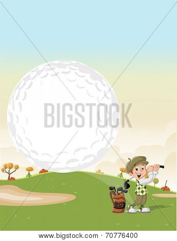 Cartoon golfer boy shooting a golf ball on green course