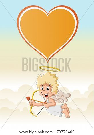 Funny cartoon cupid angel boy in heaven aiming at someone