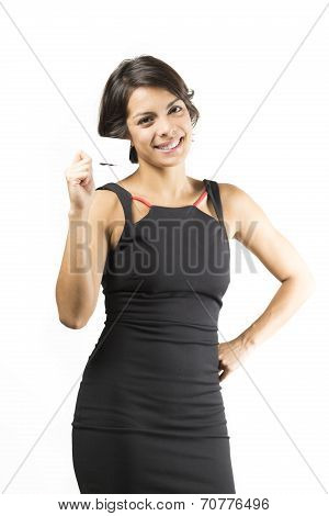 Beautiful Woman  Holding A Business Card