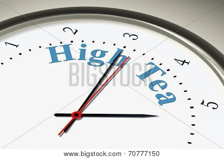 An image of a nice clock with the words high tea