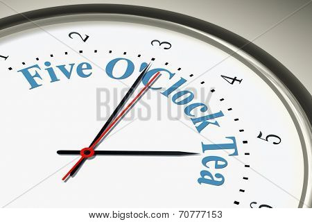 An image of a nice clock with the words Five O'Clock Tea