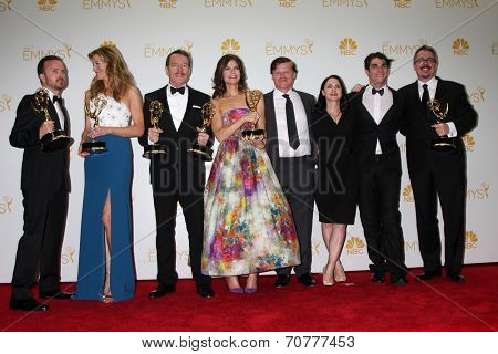 LOS ANGELES - AUG 25:  Aaron Paul, Anna Gunn, Bryan Cranston, Betsy Brandt, Jesse Plemons, Laura Fraser, RJ Mitte, V Gilligan at the Emmy Awards  at Nokia Theater on August 25, 2014 in Los Angeles, CA