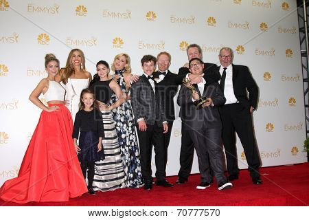 LOS ANGELES - AUG 25:  Modern Family Cast at the 2014 Primetime Emmy Awards - Press Room at Nokia Theater at LA Live on August 25, 2014 in Los Angeles, CA