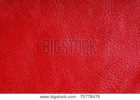 Red Textured Leather Grunge Background Closeup