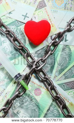 Red Heart Hundred Zloty Bills For Background And Chain