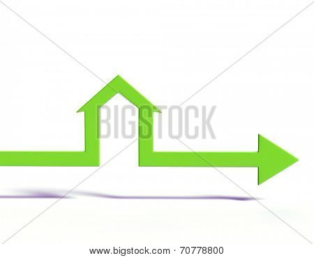 House shape arrow. Business  concept.