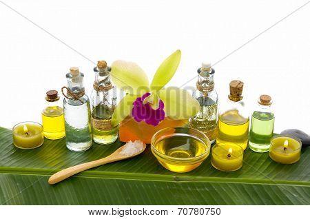 Setting health spa and banana leaf