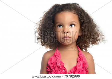 Portrait of a little girl with an afro hairstyle isolated on white
