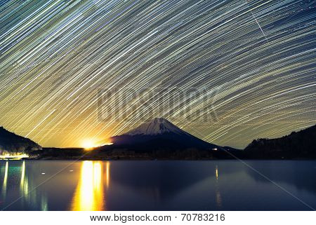 Mount Fuji, Lake Shojiko and star trails of winter stars