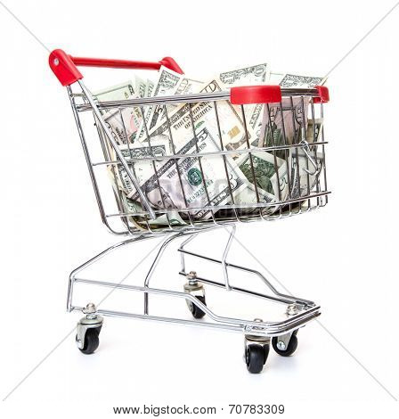 Shopping cart full of dollar notes