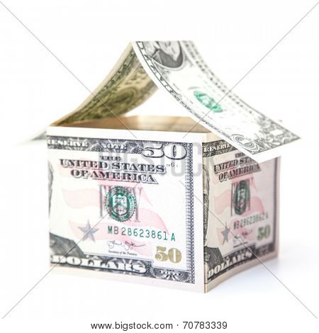 Stylized house out of dollar notes