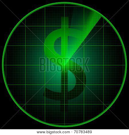 Radar Screen With Dollar Symbol
