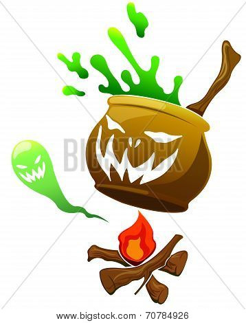Halloween Pumpkin Monster In Isolated Background
