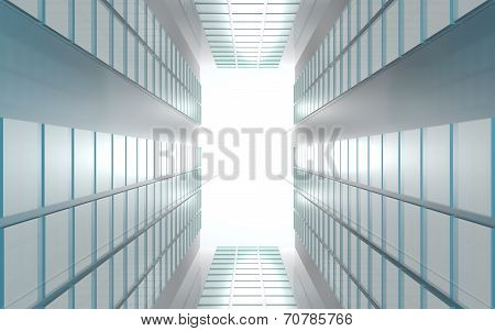 Modern contemporary background of lights on reflective panels