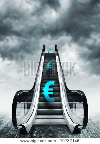 Euro Symbol On Escalators