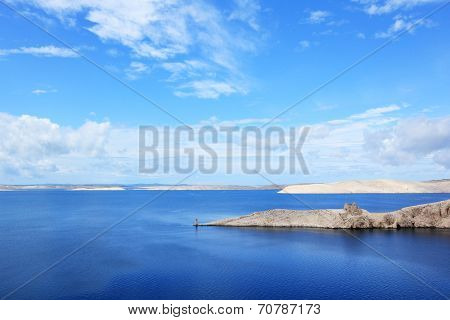 Island of Pag on croatian Adriatic sea