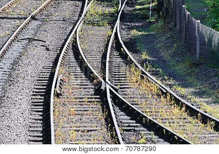 Railway track change of direction point.