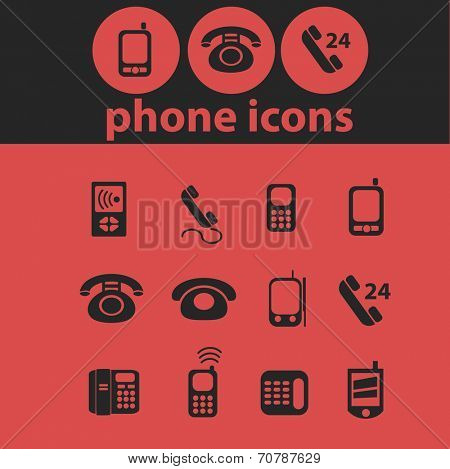 phone, retrophone, smartphone, call service, link isolated icons, signs, symbols, illustrations, silhouettes, vectors set