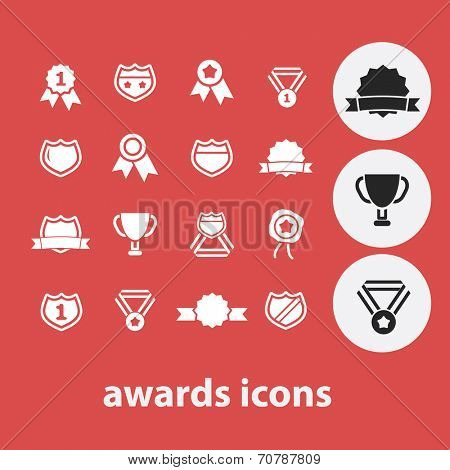 awards, winner, competition isolated icons, signs, symbols, illustrations, silhouettes, vectors set
