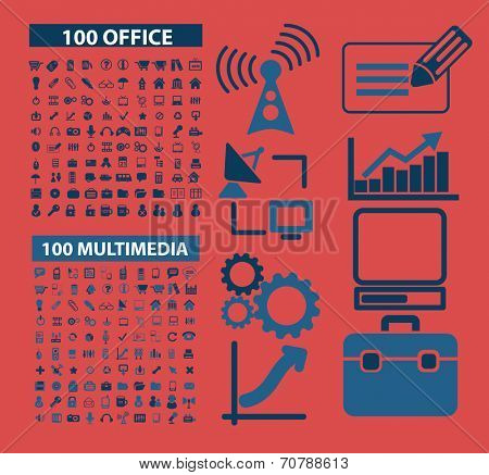 200 blue office, multimedia isolated icons, signs, symbols, illustrations, silhouettes, vectors set