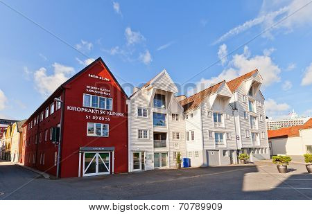Houses On Blue Promenade Of Stavanger, Norway