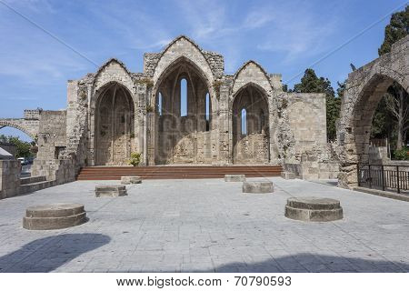Ancient ruins of a church in the Rhodes old town